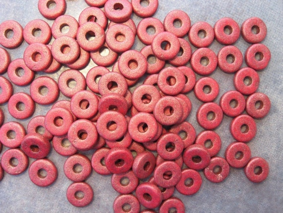 Shop Sale..GOLD BRICK Greek Ceramic 8mm Round Washer Beads (25)