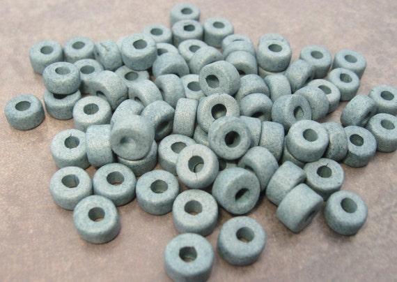 25 Faded Denim Mini Tubes 6x4mm Mykonos Greek Ceramic Large Holed Spacer Beads