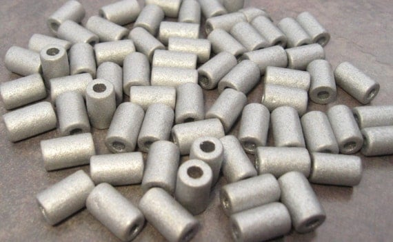 Shop Sale..SILVER EARTHY Greek Ceramic Small Tube Beads 6x10mm (15)
