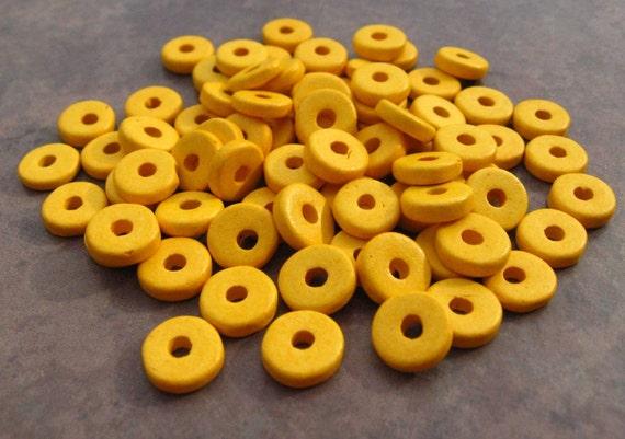 25 Banana Yellow Greek Ceramic Beads - 8mm Round Beads