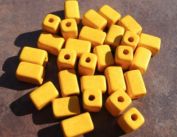 Shop Sale..BANANA YELLOW Greek Ceramic Beads Square Barrel 6x10mm (10)