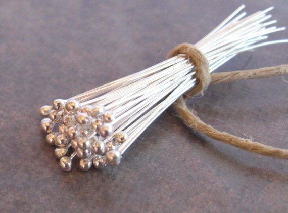 20 Bali Sterling Silver 27gauge Headpins with Ball - 30mm Low Shipping