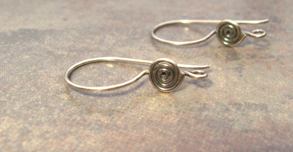 Shop Sale..2 Bali Sterling Silver Earwires with Circular Disk 22mm x 12mm LOW SHIPPING