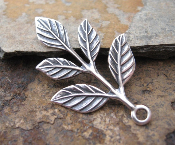 2 Antique Silver Leaf Sprig 23.5mm x 36mm -  Trinity Brass