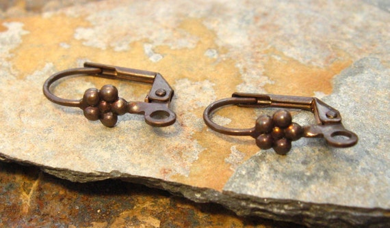 4 Trinity Vintage Patina Lever Back Earrings With Flower  -  Trinity Brass