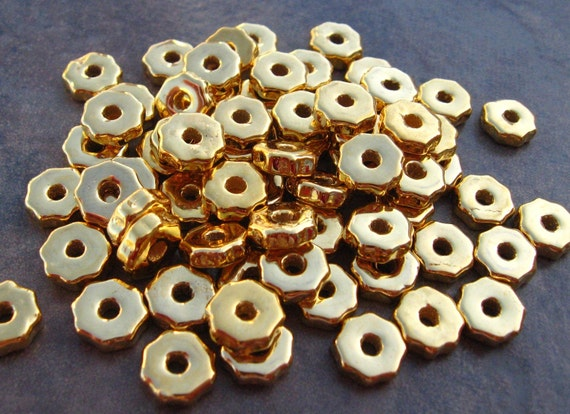 Mykonos Greek Ceramic Beads 20 Gold Tiny Gears Metalized Beads - 6mm