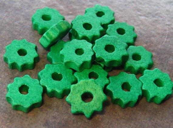 10 BRIGHT GREEN Mykonos Greek Ceramic Beads Tiny Gear Beads