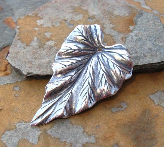 Large Leaf Focal - Woodland Leaf 23x37mm Antique Silver -  Trinity Brass Co