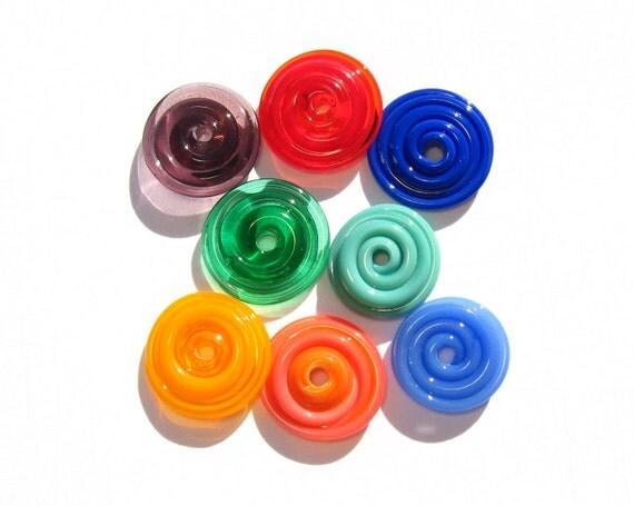 Fiesta Glass Handmade Disks - Handmade Lampwork Beads SRA