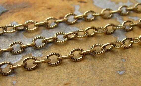 3 ft.  Trinity Brass Small Etched Cable 4mm Chain Antique Gold Patina -  LOW SHIPPING