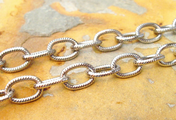 New Sale..3 ft. Antique Silver Large Etched Cable Chain 9.5mm Trinity Brass - LOW SHIPPING
