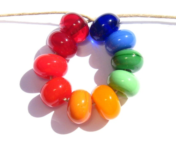 Rainbow Glass Spacers (10) - Handmade Lampwork Beads