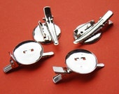 4pcs 24mm Dual White Gold Plated Brooch Back Base With Clip and Safety Pin HA303