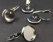 10pcs  Silver Tone French Earwires With 12mm Round Pad EA617