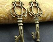 8PCS 45mm Antique Bronze Metal Key Charm AB024