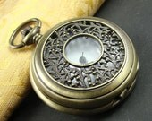 1pcs Antique Bronze Elegant Skeleton Locket Necklace Watch Pendant LK722
