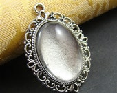 8PCS Antique Silver Cameo Base Setting Pendant With Free 18X25MM Glass Cabochon AS127