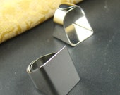 10pcs 19mm Silver Unique Adjustable Ring Blanks RI026