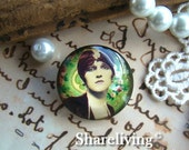 Glass Cabochon, 8mm 10mm 12mm 14mm 16mm 20mm 25mm 30mm Round Handmade photo glass Cabochons   (Vintage Lady)  -- BCH718B