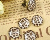 Glass Cabochon, 8mm 10mm 12mm 14mm 16mm 20mm 25mm 30mm Round Handmade photo glass Cabochons - Leopard Print Collection BCH010E