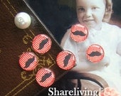 Time Limited Offer - 20% OFF - 10pcs 12mm Handmade Photo Glass Cabochon / Wooden Cabochon  (Moustache) -- BCH009H