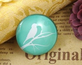 Glass Cabochon, 8mm 10mm 12mm 14mm 16mm 20mm 25mm 30mm Round Handmade photo glass Cabochons  - Birds Collection BCH701G