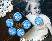 10mm Glass Cabochon, 8mm 12mm 14mm 16mm 20mm 25mm 30mm Round Blue Flower glass Dome - BCH074A