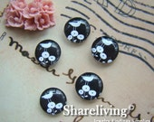 Time Limited Offer - 20% OFF - 10pcs 12mm Handmade Photo Glass Cabochon / Wooden Cabochon (Birds) - BCH042C