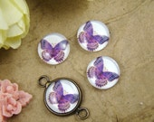 Glass Cabochon, 8mm 10mm 12mm 14mm 16mm 20mm 25mm 30mm Round Handmade photo glass Cabochons - Butterfly Collection BCH008T