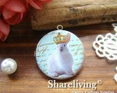 1pcs 32mm  Handmade Antique Bronze Brass Photo Locket Pendant / Charm  (Crown Rabbit) - HLK062A