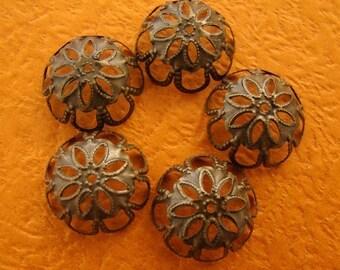 50% OFF SALE - 56pcs 17mm Antique Bronze Filigree Beads Caps CAB016