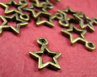 50% OFF SALE - 12PCS 12X10Mm Antique Bronze Star Charm Pendant Ab509