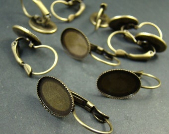 20pcs Antique Solid Brass French Earwires Hook With Oval 14x10mm Pad EA610