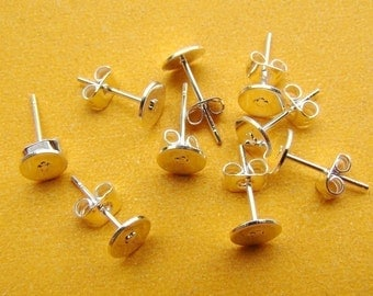 100pcs Silver Plated Earring Studs, Earring Posts With 6mm Pad and  Back Stoppers EA309