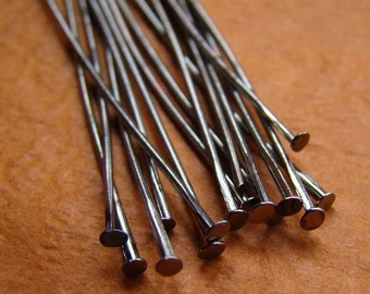 150ps 40mm Antique Gunmetal Headpin pins Findings PI204