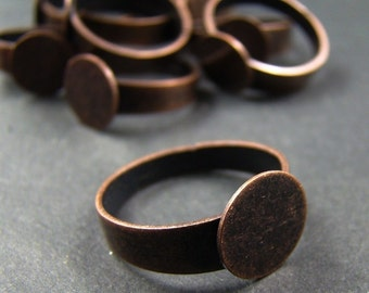 10pcs Antique Copper Adjustable Ring Blanks With 12MM Flat Pad RI205