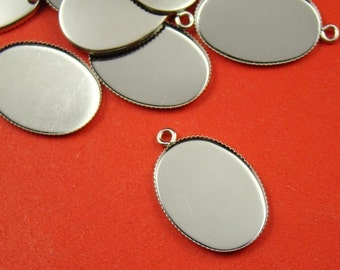 50 PCS 25x18mm Silver Oval Gemstones Cameo Or Cab Victorian Pendant Setting BS264