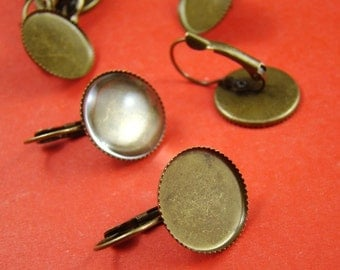 10pcs Antique Solid Brass French Earwires Hook With 16mm Round Pad EA627
