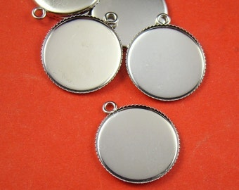 20pcs 20mm Silver Round Gemstones Cameo Or Cab Victorian Pendant Setting BS267
