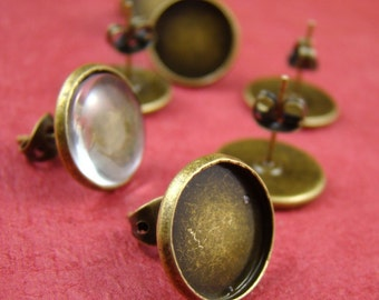 50pcs Antique Solid Brass Earring Posts With Round 12mm Pad EA319