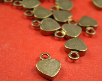 50% OFF SALE - 20pcs 10mm Antique Raw Brass Flat Heart Charm CWD305