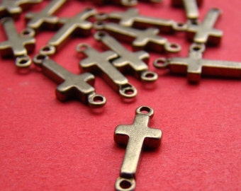 20pcs 14mm Antique Solid Brass Cross Charm / Connector FC008
