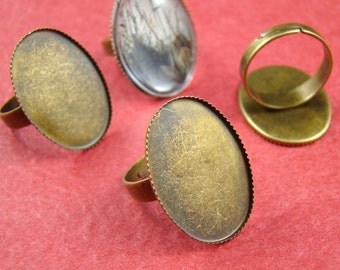10pcs Antique Brass Nickel Free With 18x25mm Ring Base RI424