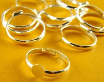10pcs Nickel Free Silver Plated Adjustable Ring Blanks With 6MM Flat Pad RI106