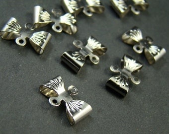 25pcs 12x8mm Silver Tone Bowknot Bow Charm Connector FC206