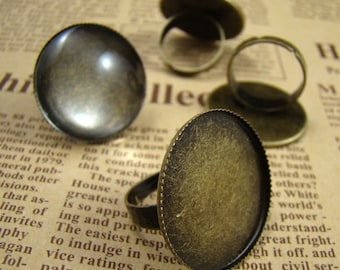 5PCS Antique Brass Nickel Free Ring With Round 25mm Pad Cameos Setting RI409