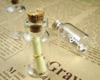20pcs 35x16mm Clear Glass Tiny Wishing Bottle Vials Pendants With Corks / Free EyeHooK HC029