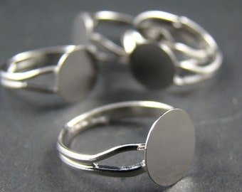 10pcs Nickle Free Silver Tone Adjustable Ring blanks With 10MM Flat Pad RI207