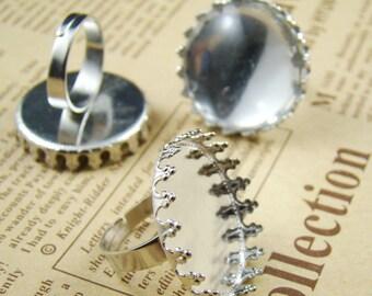 5pcs Silver Elegant Crown Design 25MM Ring Base RI426