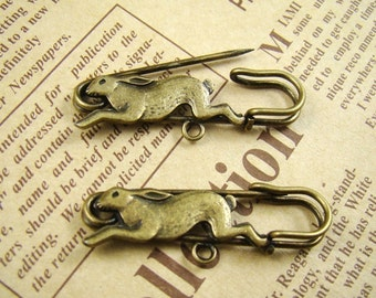 8Pcs 40mm Antique Bronze Lovely Rabbit Safety Pin Brooch HA510